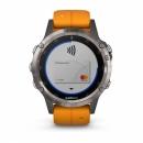 Garmin Fenix 5 Plus Sapphire, tytanowy z pomarańczowym paskiem [010-01988-05]