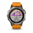 Garmin Fenix 5 Plus Sapphire Tytanowy z pomarańczowym paskiem [010-01988-05] + OpenStreetMap Topo Polska